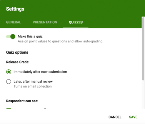 quiz settings screenshot