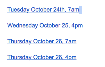 google doc links for dates