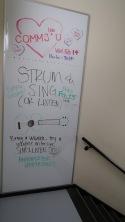 whiteboard in stairway